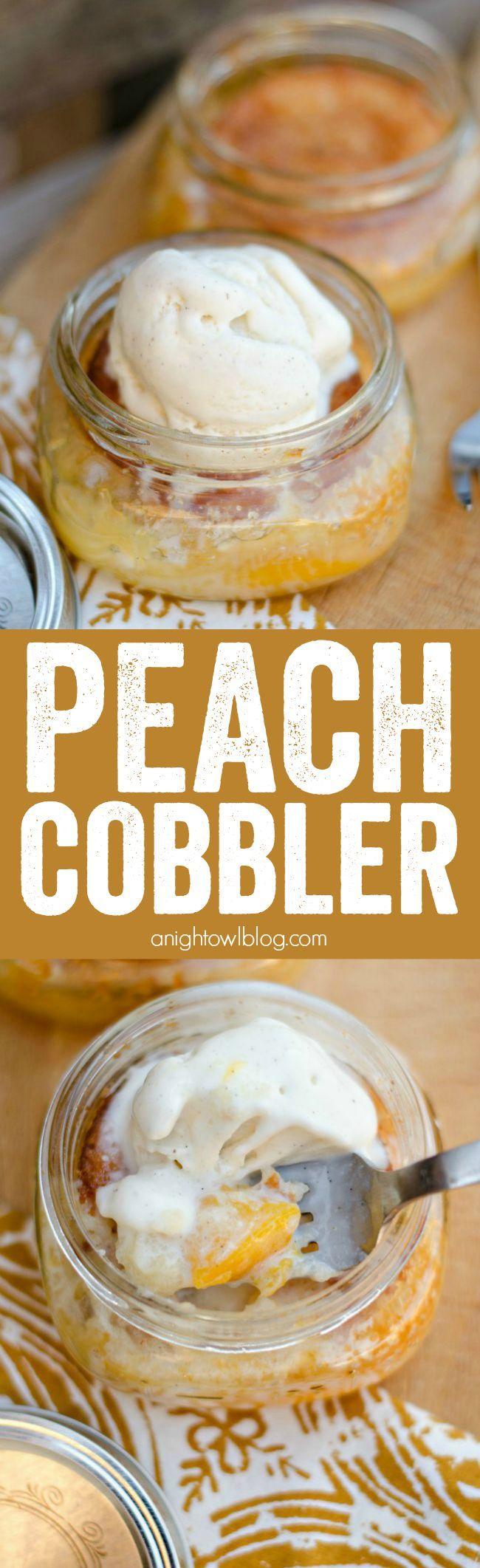 Easy Peach Cobbler in a Jar #peachcobblercheesecake