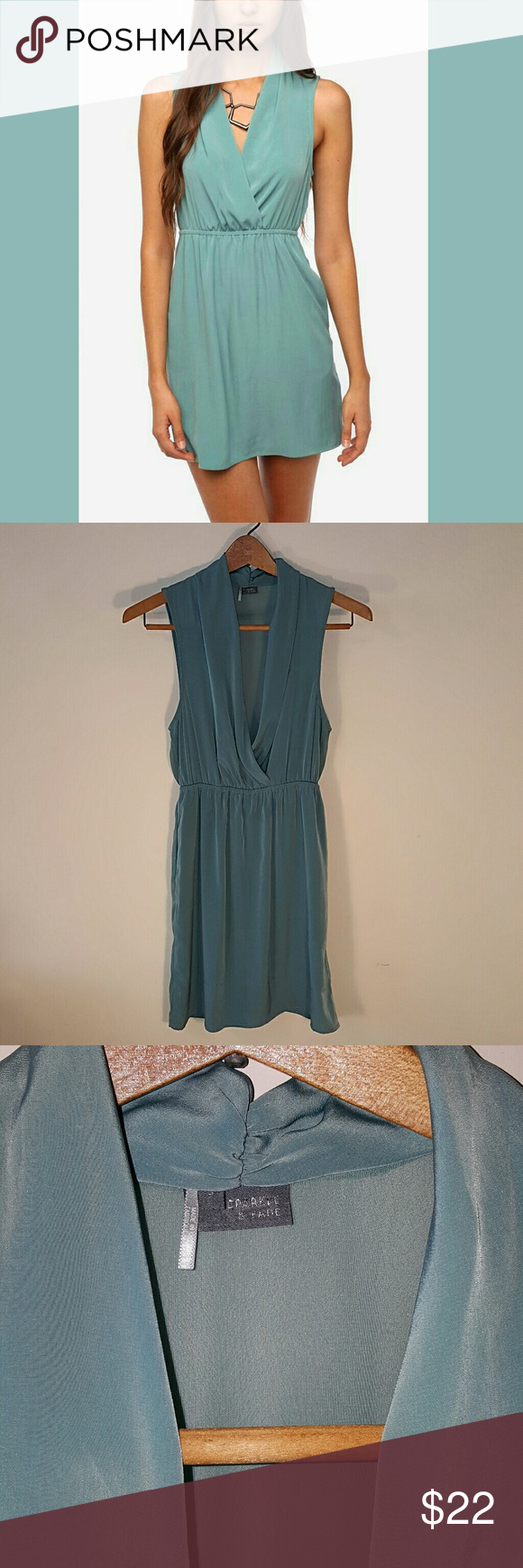 Sparkle & Fade Aqua Dress w/ Sheer Back, Small Pretty & feminine dress in a unique aqua/light teal color by Sparkle & Fade that was sold at Urban Outfitters. It has an elastic waist and a v-neck wrap-like neckline. The top portion of the back is sheer. Although it's hard to see in the picture, it's a size small. NWOT. Sparkle & Fade Dresses Mini