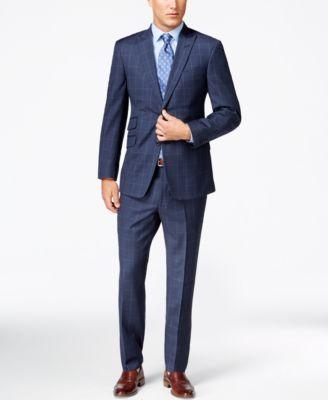 79c47d74 Tommy Hilfiger Blue Windowpane Peak Lapel Slim-Fit Suit | Suit ideas ...