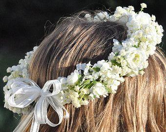 Flower Girl Wreath First Communion Wreath by Hollysflowershoppe  komunie  Flower girl wreaths