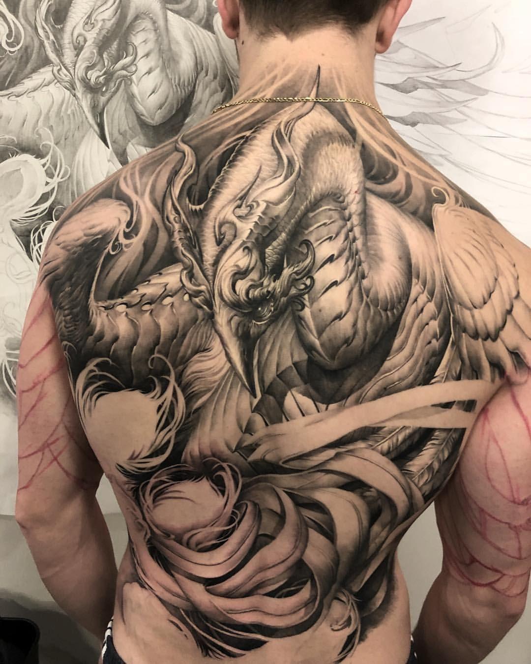 Chronic ink realism tattoo phoenix dark horror