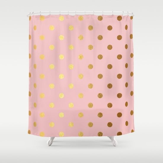 Golden polka dots on rose gold backround shower curtain for Pink and gold bathroom accessories