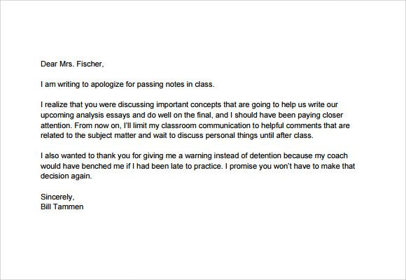 Apology Letter to School Teacher PDF Teaching Assessments - business apology letter for mistake