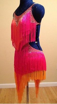 Hot Pink Latin or Rhythm Ballroom Dance Dress Hot Pink Orange Fringe  Swarovski  34a1964e6