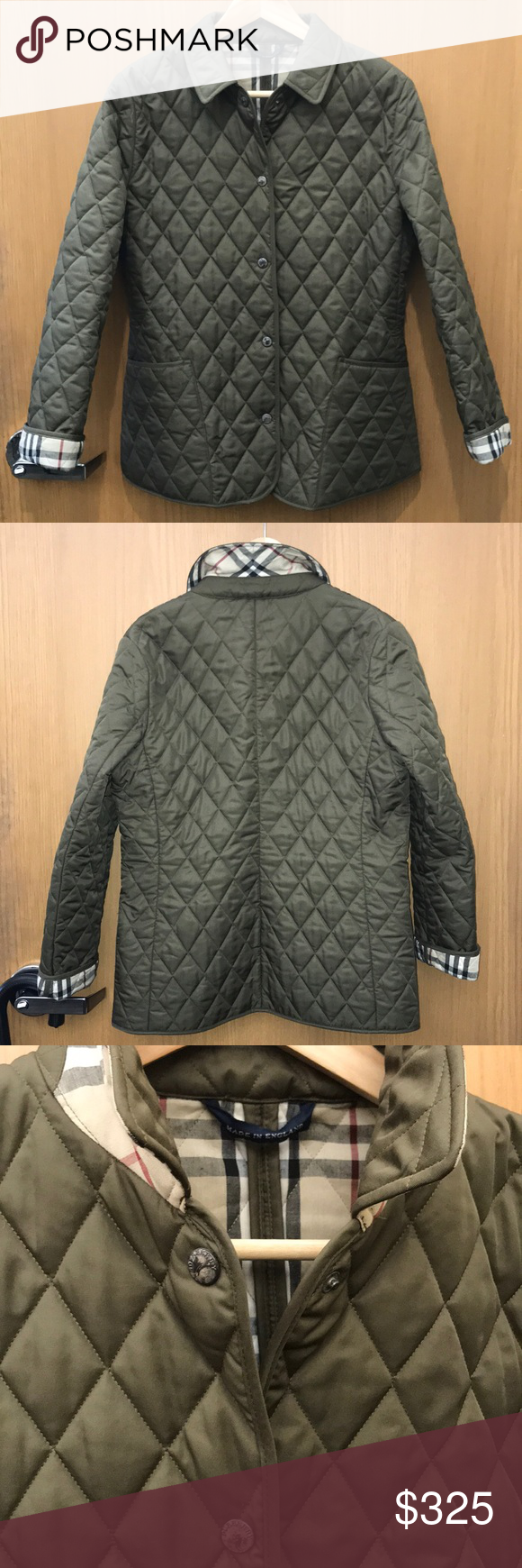 Burberry London Diamond Quilted Olive Jacket Szs Olive Jacket Burberry London Ladies Of London