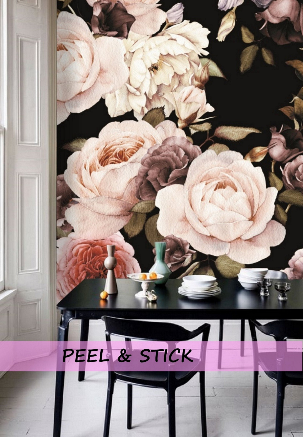 Peel and Stick Floral Wallpaper Mural, Black Floral