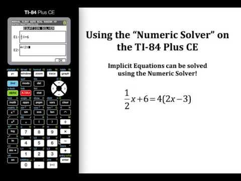 Using The Numeric Solver On The Ti 84 Plus Ce College Algebra Algebra Lessons Learning Math