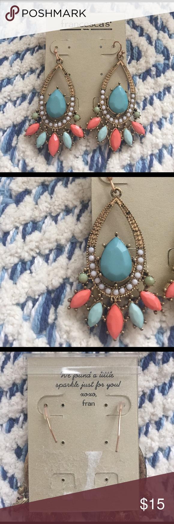 Nwot francescas colorful chandelier earrings arubaitofo Images