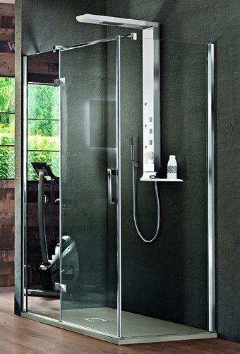 Arblu otto angolo q r con colonna integrata 1 anta battente 1 lato fisso parete doccia - Box doccia senza telaio ...