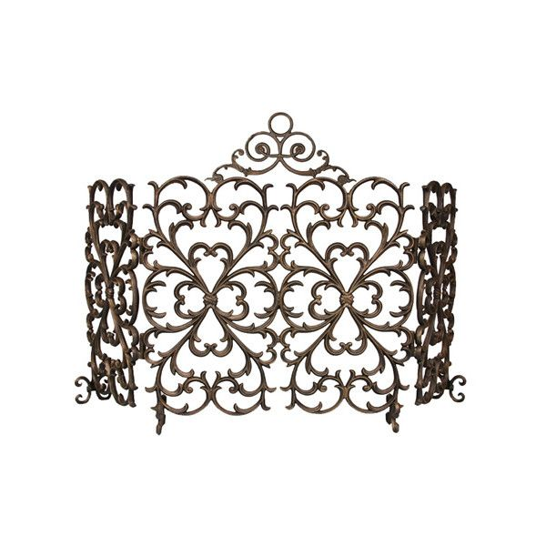 Cast-Iron Scrollwork Fireplace Screen 4-Panel Arch ($775) ❤ liked on - Cast-Iron Scrollwork Fireplace Screen 4-Panel Arch ($775) � Liked