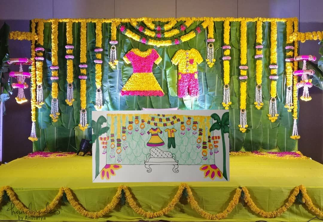 Sketch To Reality This Floral Decor For A Sreemantham Function Handmadeby Indian Baby Shower Decorations Cradle Ceremony Naming Ceremony Decoration