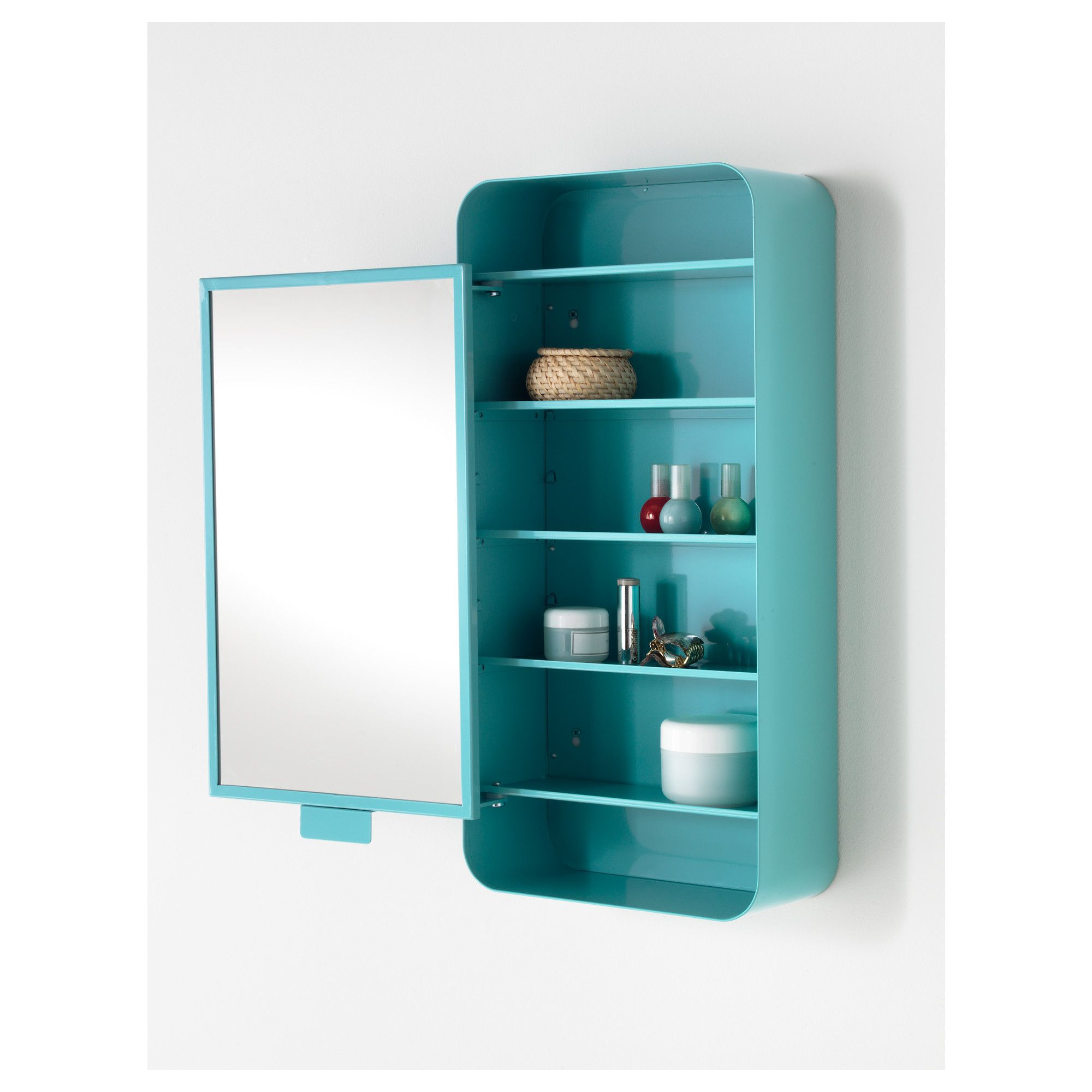 Ikea  Gunnern, Mirror Cabinet With 1 Door, Turquoise , Shelves With Raised  Edge For Safe Storagee Mirrores With Safety Film On The Back,