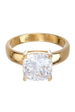 Sterling Silver Simulated Diamond Cushion-Shaped Ring