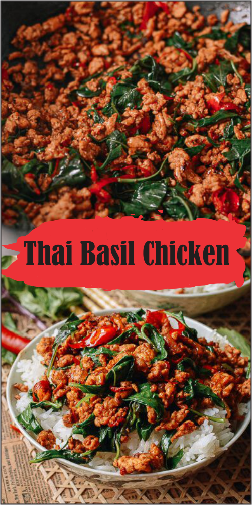 Thai basil chicken recipe takes just 3 minutes to prepare and 7 minutes to cook. Served along with steamed rice, it's restaurant food, fast.