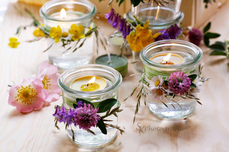 Diy windlichter im einweckglas mit blumenkranz deko for Pinterest diy deko