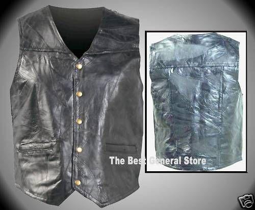 Giovanni Navarre Genuine Black Leather Motorcycle Vest