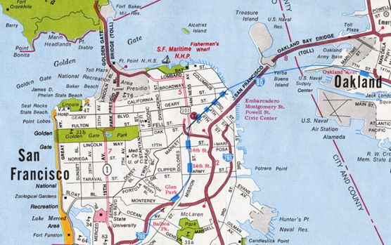 A street map of San Francisco depicting the park in the northern