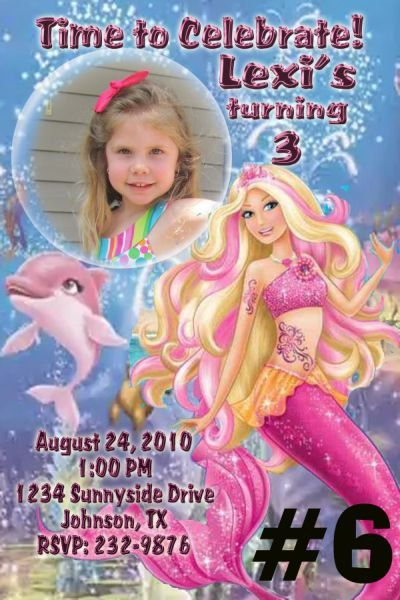 Barbie Mermaid Tale Birthday Invitation Printable Photo Digital File On Etsy 1095