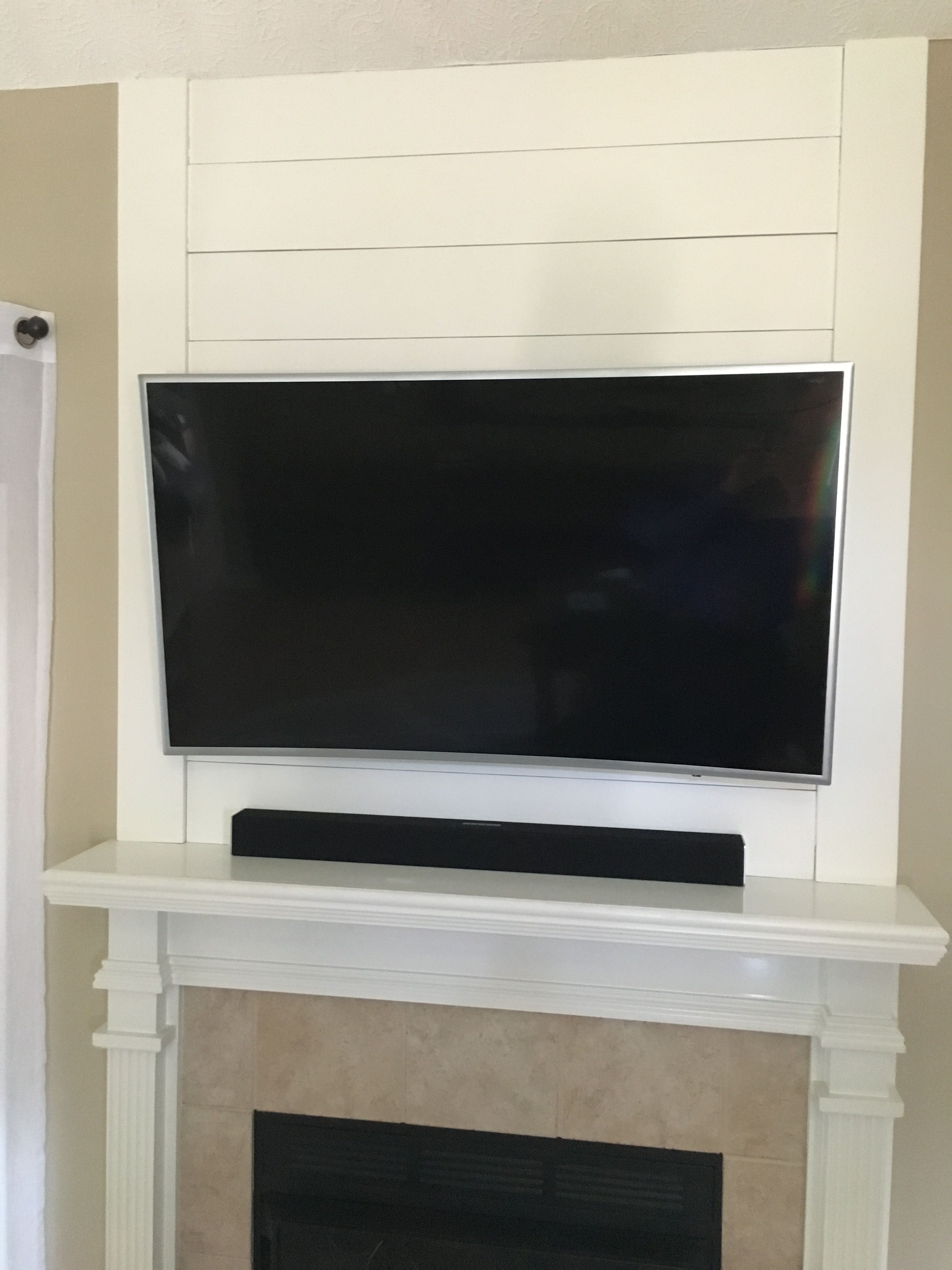 Shiplap To Cover Old Tv Cutout Over Fireplace Mantle Freestanding Fireplace Fireplace Seating Fireplace Drawing