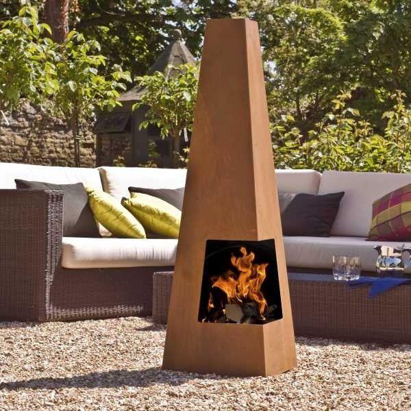 La Hacienda Contemporary Tall Steel Chiminea Backyard Backyard Bbq Outdoor Fire