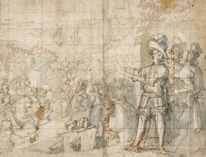'Estudio para la decoración de la Biblioteca de El Escorial', de Pellegrino Tibaldi. (332 x 485 mm.) c. 1588-1592. | The Trustees of the British Museum | Exhibition at Prado Museum