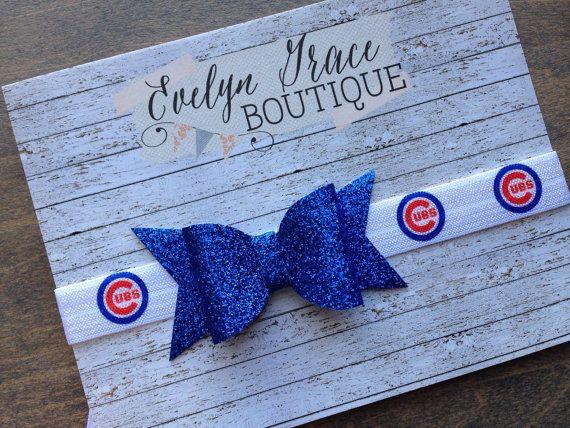 Chicago Cubs Baby Headband Cubs Newborn Headband Girls Bow Headband ... 39f6fd645c1
