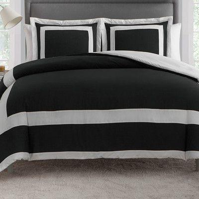 VCNY Avianna 3 Piece Duvet Set Color: Black, Size: Queen