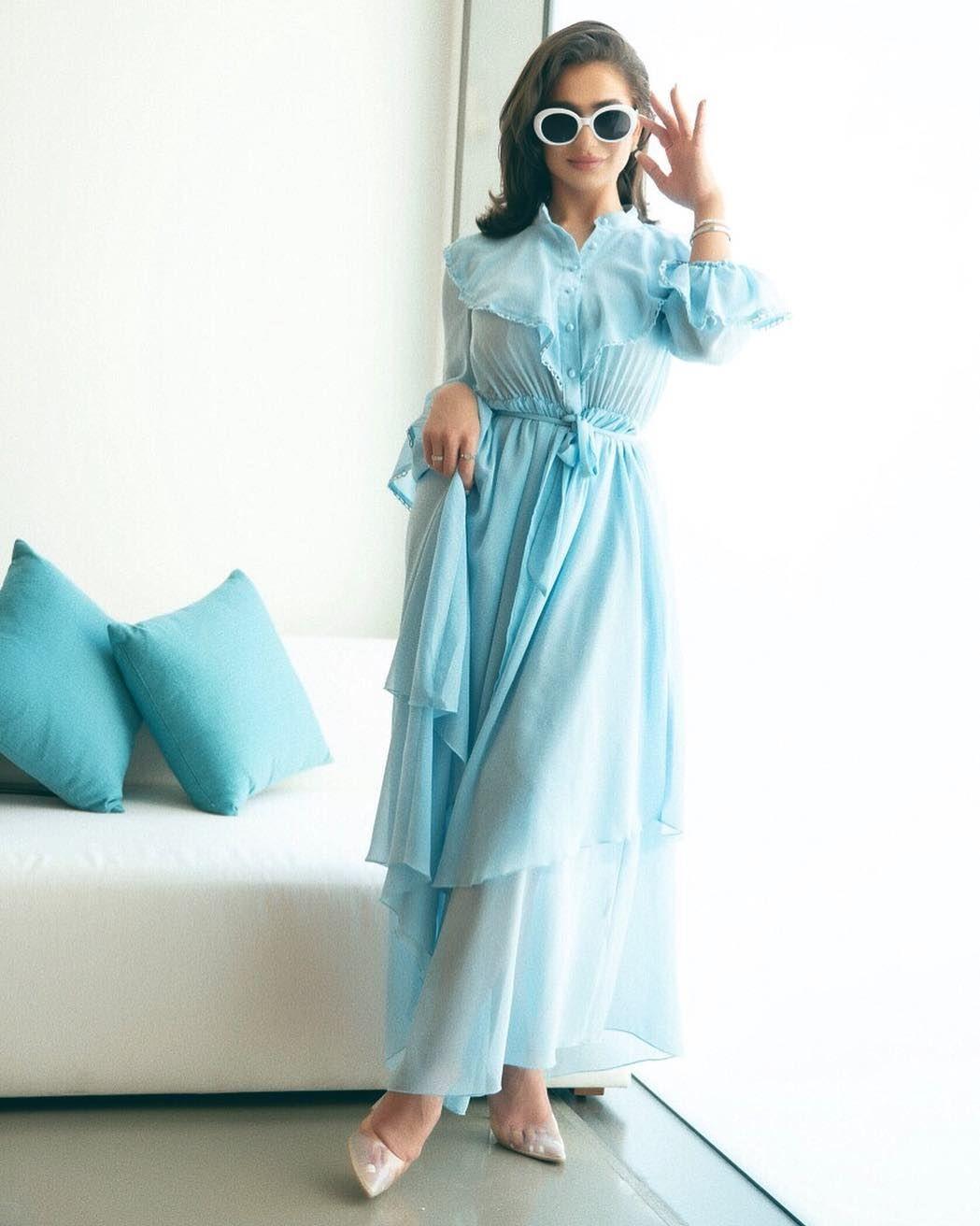 46690b8302 #SHEIN #Sky #Blue #Elegant Long Sleeve #Ruffle #Button #Belted #Maxi #Dress