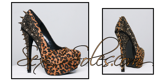 Leopard Spike Rhinestone Platform Pump $89.99 use code SexC10 for 10% off entire site