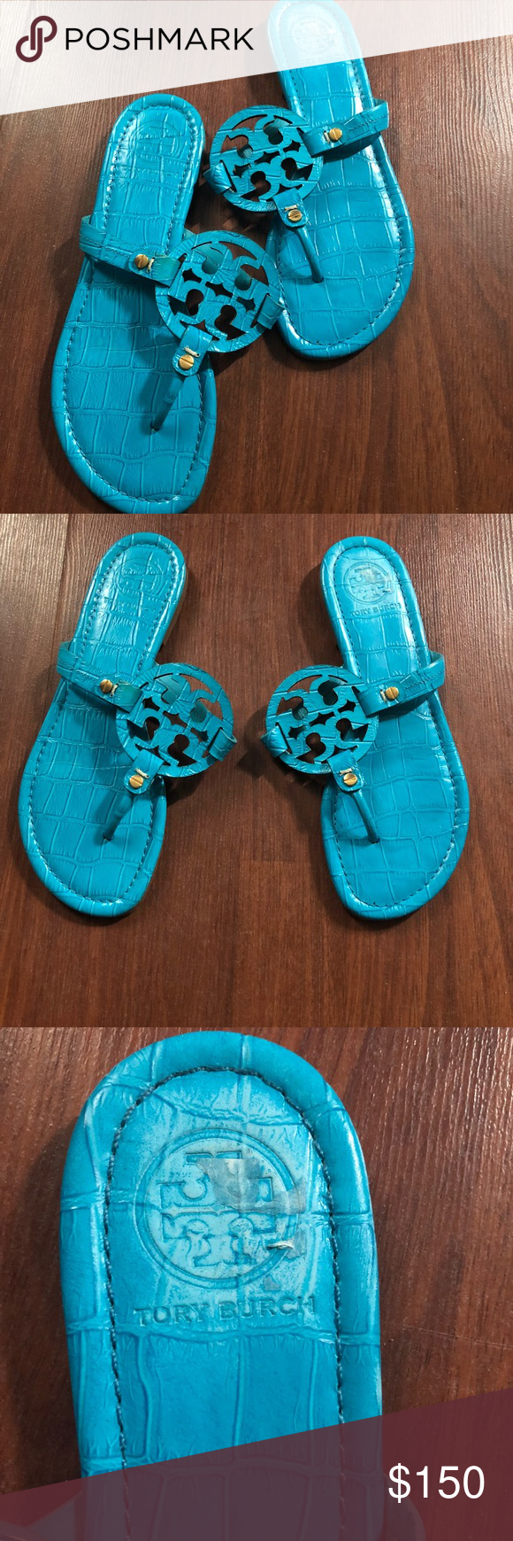 1a799d406 Rare Tory Burch Turquoise Miller Sandals. 💙 Rare Tory Burch Miller Croc  embossed Miller sandals
