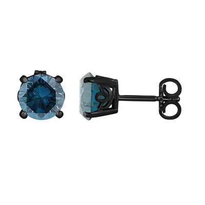 Stunning Fancy Blue Diamond Stud Earrings Vintage Style Unique Gallery Design Handcrafted Mens