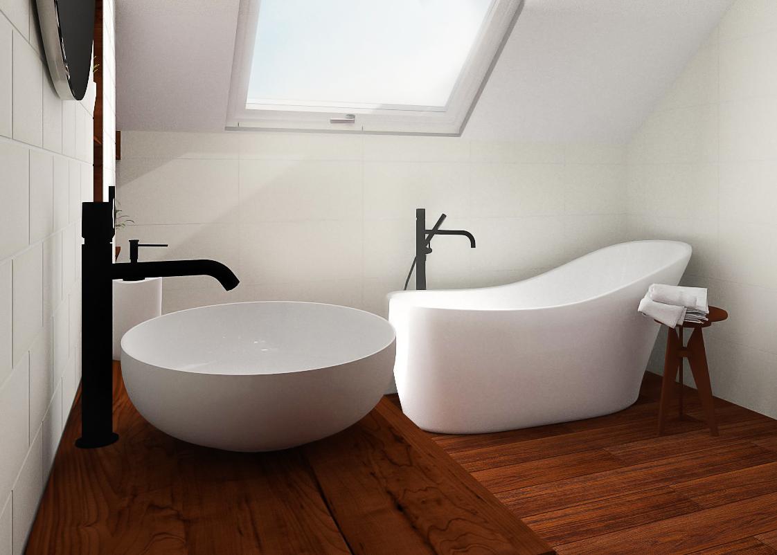 łazienka Na Poddaszu W Bieli I Drewnie Inspiracje łazienka