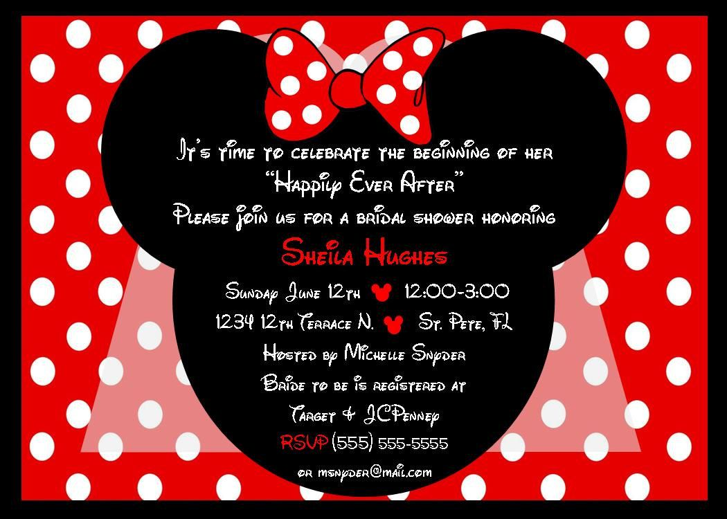 Minnie Mouse Bride bridal shower invitation red - DIY you print ...