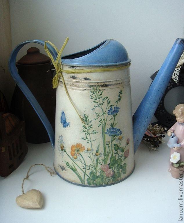 """Купить Лейка """"Полевые цветы"""" - голубой, лейка декупаж, полевые цветы, старение, винтаж, потертости"""