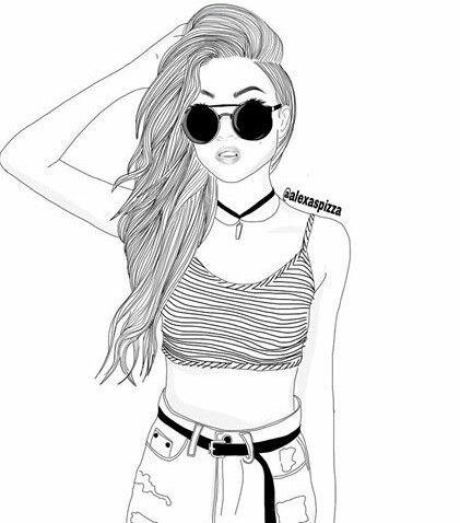 Havali Kiz Hipster Girl Drawing Cizim Cizim Sac
