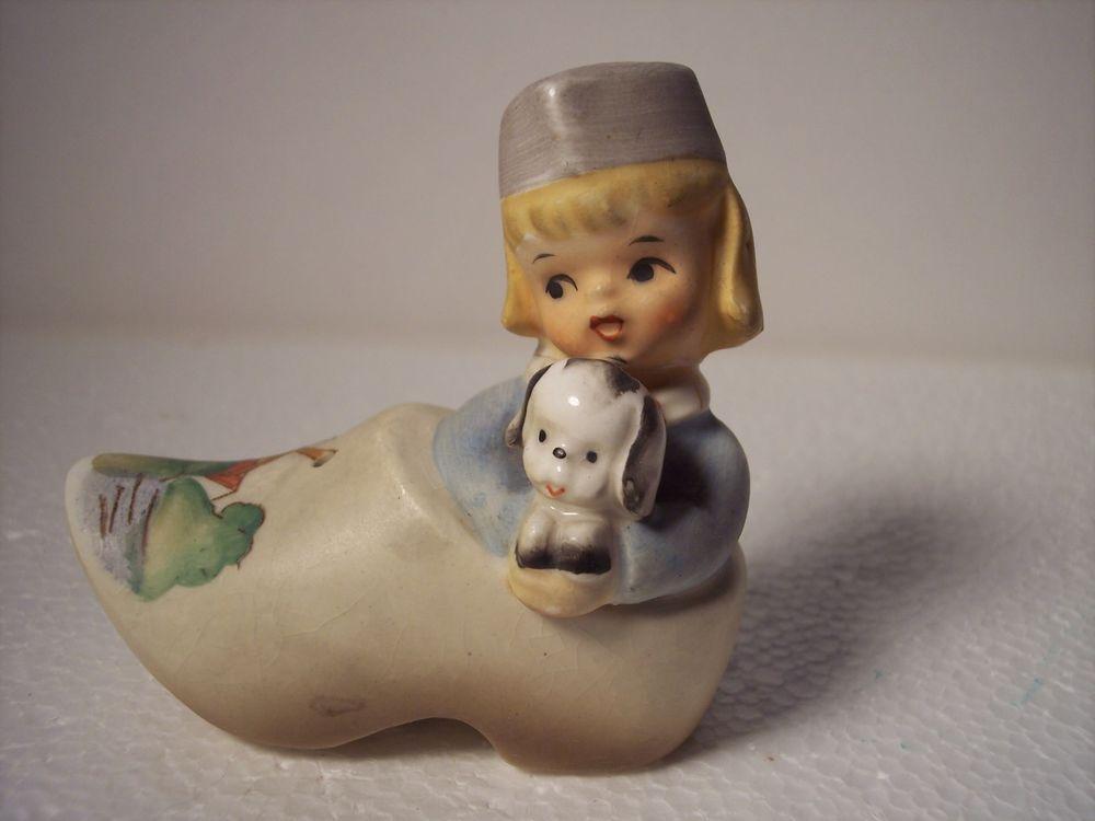 Lefton Dutch Girl or Boy w/Puppy In Shoe Salt Shaker Vintage