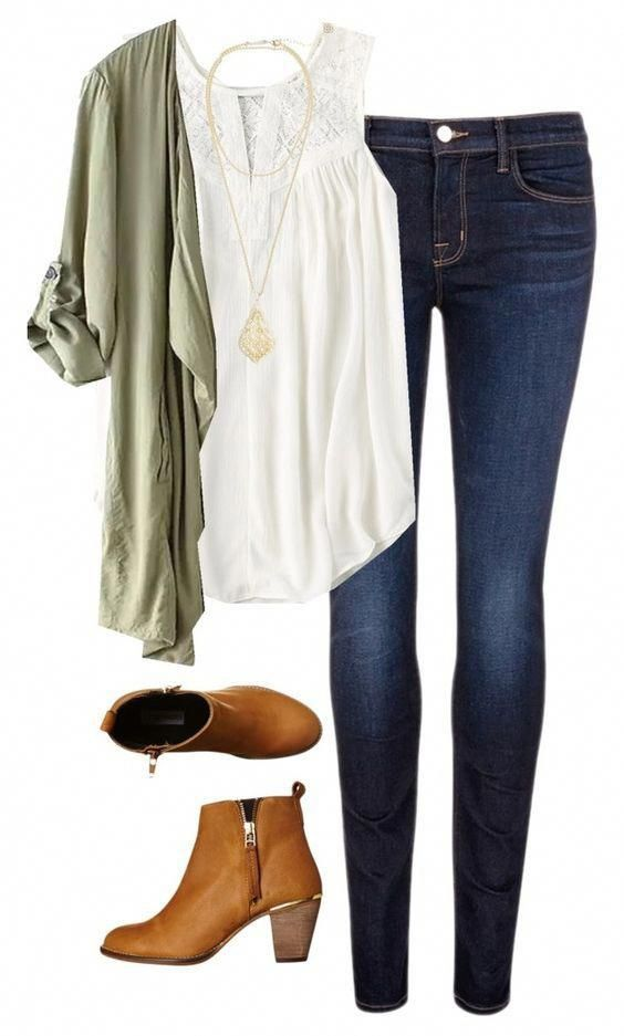 Green Wrap Cardigan + Sleeveless Top fashionoutfits is part of Fall outfits -