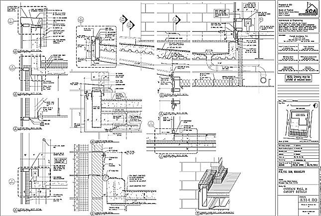 wall section curtain wall connection detail  stairs pinned