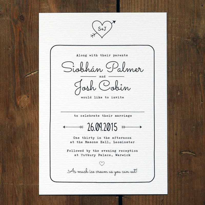 Wedding invitation suite printed on thick 320gsm 'feel