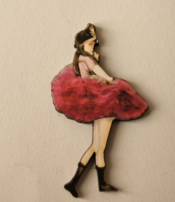 Beautiful Red Ballerina Wooden Brooch Red by TheRowanTreeOnline