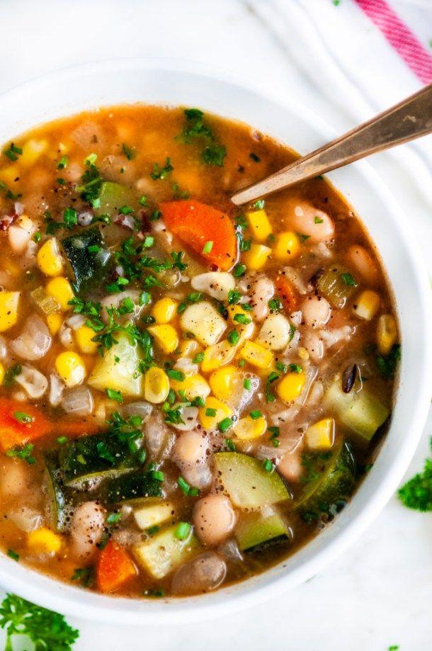 Summer Corn Zucchini White Bean Soup - Aberdeen's