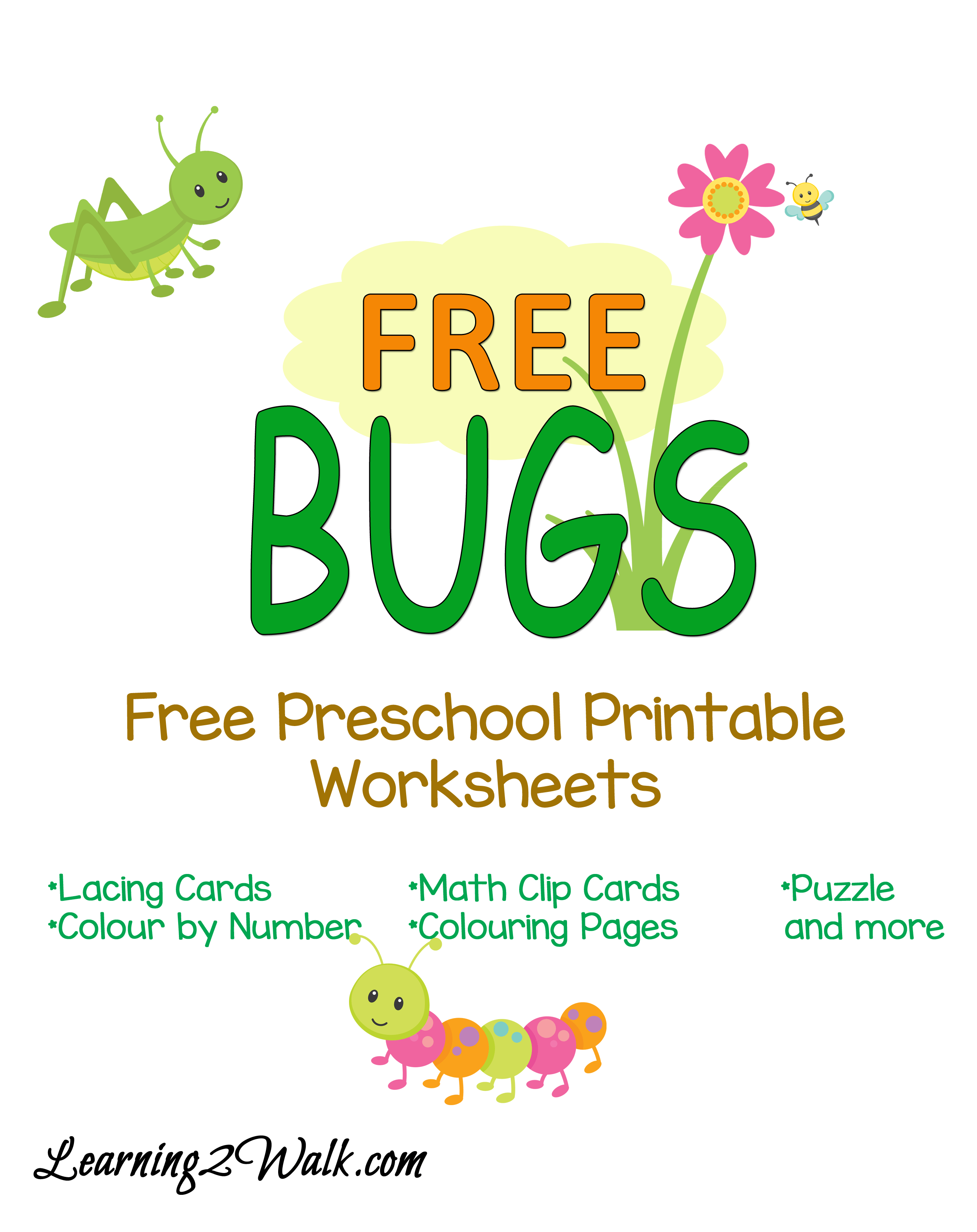 Free Bugs Preschool Printable Worksheets | Free preschool, Printable ...