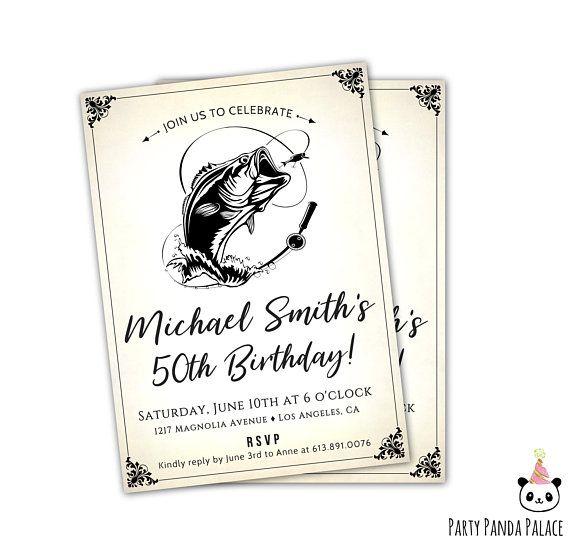 Fish Birthday Invitations for Men   Fishing Birthday Invitation - sample invitation wording for 60th birthday