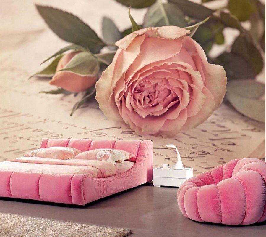 Custom Roses Pink color Flower-bud photo mural wallpapers,living ...