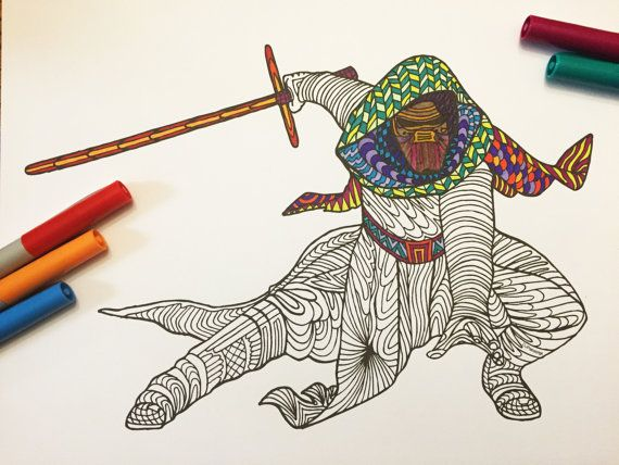 PDF Zentangle Coloring Page Kylo Ren From Star Wars The Force Awakens