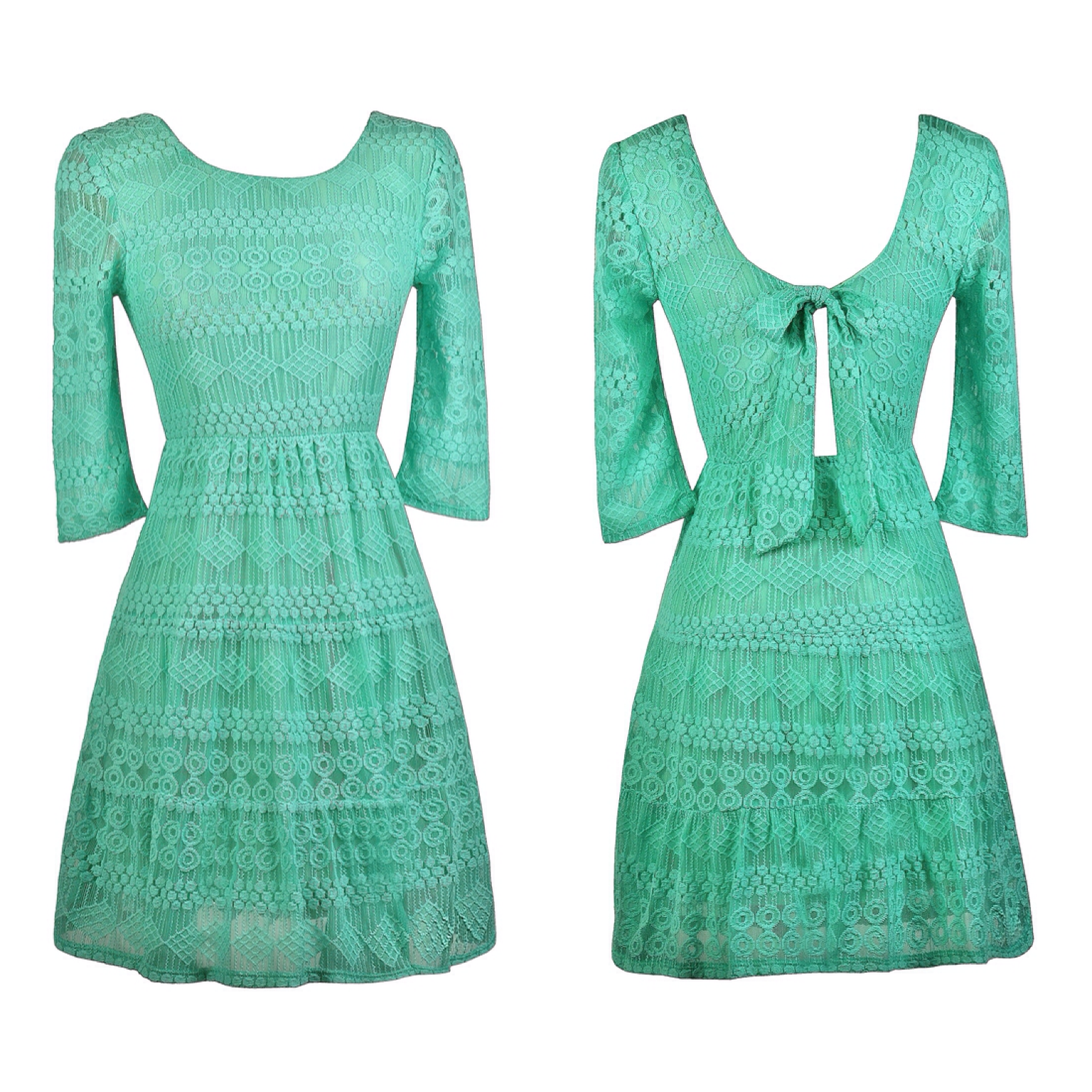 This teal lace dress has a cute fabric bow in the back! http://ss1 ...