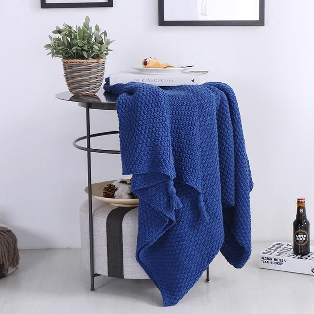 Solid Color Cotton Knitting Blanket