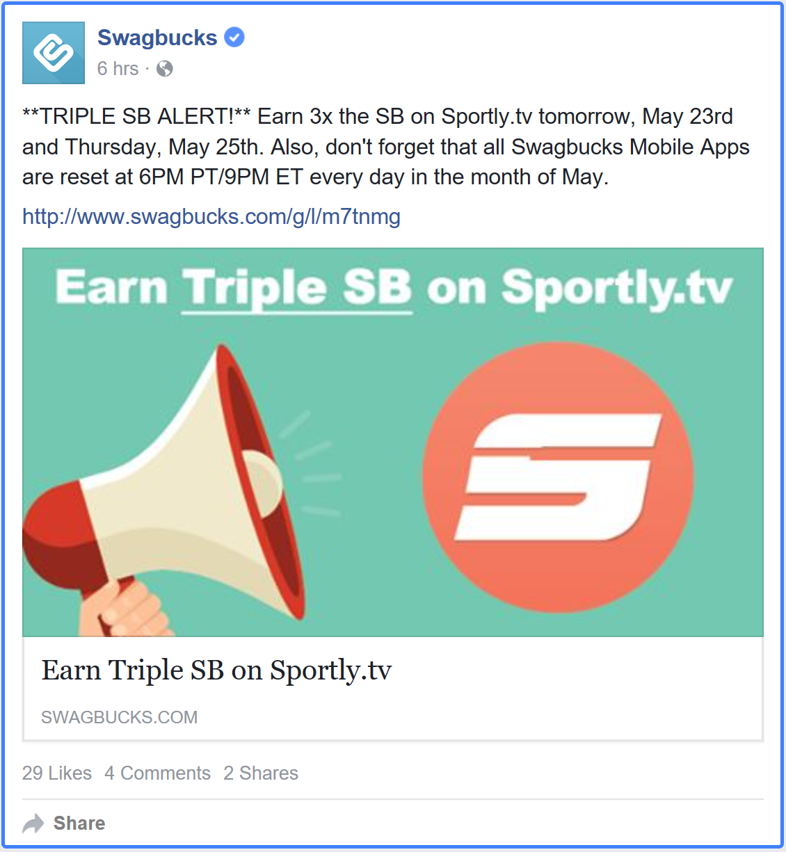 SwagBucks New Triple Swagbucks on Sportly.tv App Tuesday