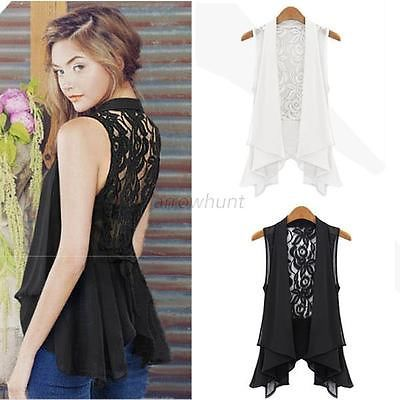 Sexy Women Chiffon Lace Tank Tops Shirt Dress Plus Size Sleeveless ...
