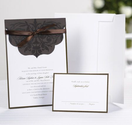 Scalloped top wrap design cards invites pinterest scalloped top wrap wedding invitation brown base card with flourish design in clear varnish wraps over white invitation stopboris Images